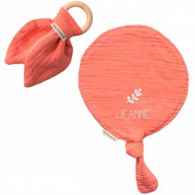 Set de naissance Doudou ballon et anneau de dentition Rose corail (personnalisable)