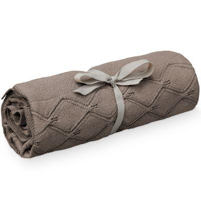 BIO + Couverture tricotée en coton bio chocolat (80 x 100 cm)
