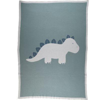 Couverture bébé en tricot TSO bleu (100 x 140 cm)