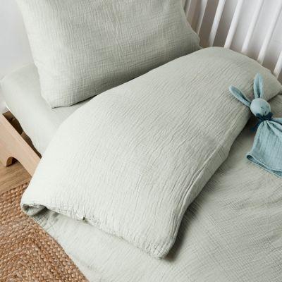 Housse de Couette + taie d'oreiller en coton bio froissé Vert aqua (100 x 140 cm)
