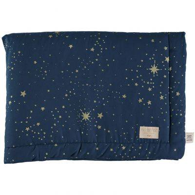 Mini couverture bébé Laponia coton bio Gold stella Night blue (70 x 70 cm)