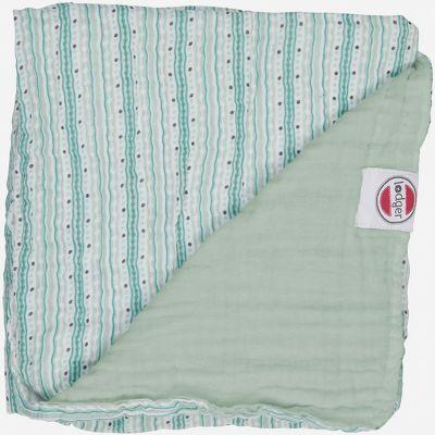 Couverture bébé en coton Dreamer Xandu rayure vert d'eau (120 x 120 cm)