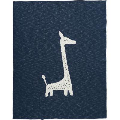 BIO + Couverture en coton bio girafe bleu marine (80 x 100 cm)