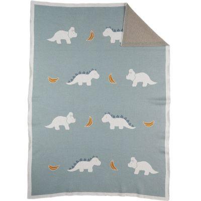 Couverture bébé en tricot TSO bleu (75 x 100 cm)