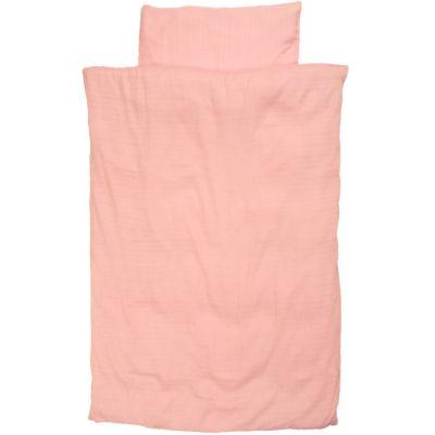 Housse de couette et taie d'oreiller coton bio rose (100 x 135 cm)