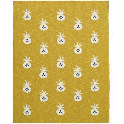 BIO + Couverture en coton bio ananas moutarde (80 x 100 cm)