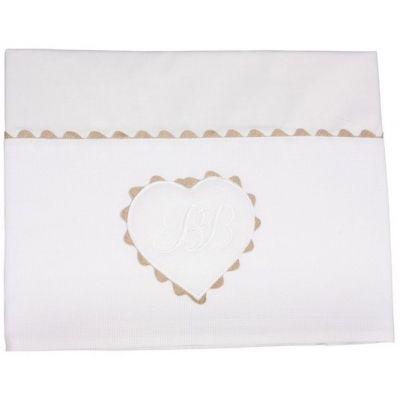 Parure de lit drap + taie d'oreiller Emma blanc (120 x 180 cm)