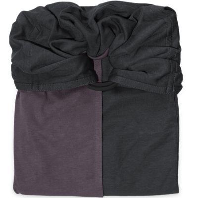 Petite écharpe sans noeud marron glacé et gris anthracite