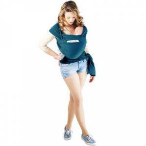 Echarpe de portage en coton bio Basic Bleu rétro - Publicité