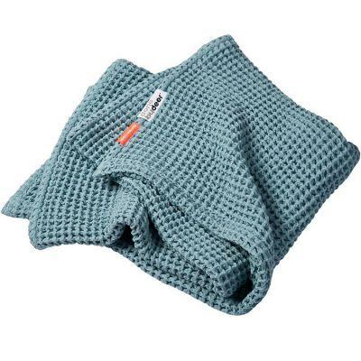 Couverture bébé en coton gaufrée bleue (80 x 100 cm)