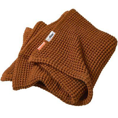 Couverture bébé en coton gaufré moutarde (80 x 100 cm)