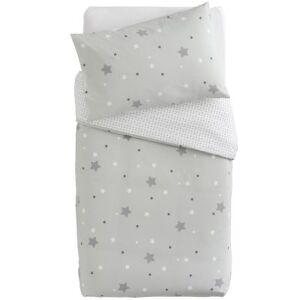 Housse de couette + taie d'oreiller imprimé Little stars étoiles grises (100 x 140 cm) - Publicité