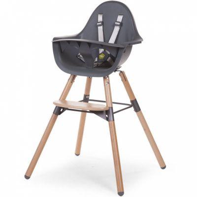 Chaise haute en bois naturel Evolu 2 gris