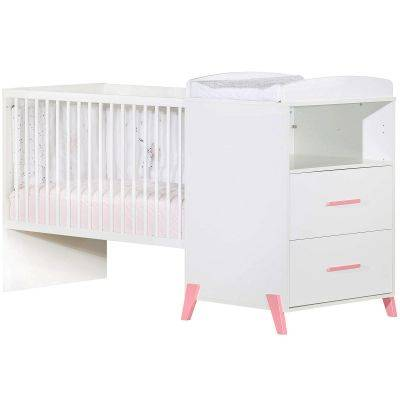 Lit bébé combiné évolutif Joy rose (60 x 120 cm)