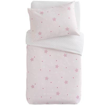 Housse de couette + taie d'oreiller imprimé Little stars étoiles roses (100 x 140 cm)