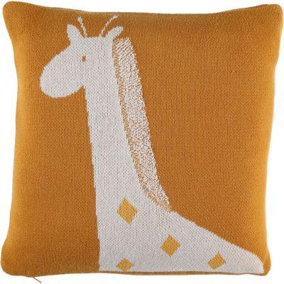 BIO + Coussin carré en tricot bio Tiga la girafe TSO (36 x 36 cm)