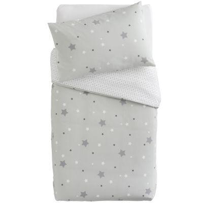 Housse de couette + taie d'oreiller imprimé Little stars étoiles grises (100 x 140 cm)