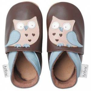 Chaussons bébé cuir Soft soles hibou garçon (3-9 mois) - Publicité