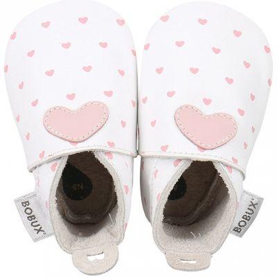 Chaussons bébé en cuir Soft soles Coeur roses et blancs (15-21 mois)
