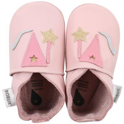 Chaussons bébé en cuir Soft soles Fée roses (3-9 mois)