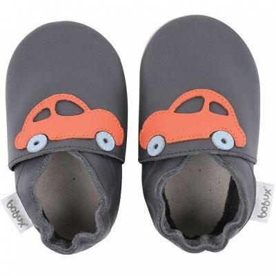 Chaussons en cuir Soft soles bleu marine voiture orange (3-9 mois)