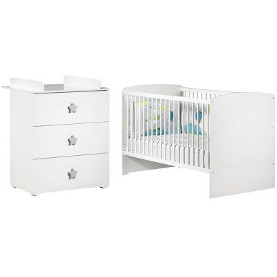 Pack duo lit bébé évolutif Little Big Bed blanc et commode à langer étoile New Basic