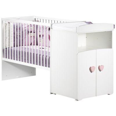 Lit bébé combiné évolutif New Basic Boutons coeur roses (60 x 120 cm)