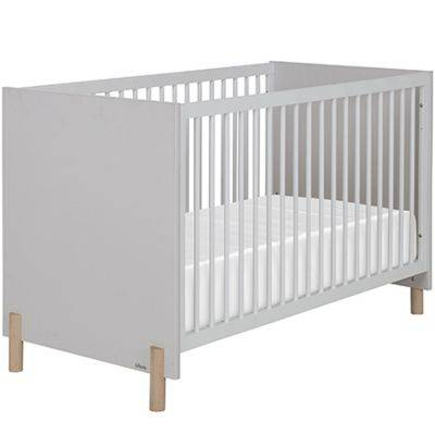 Lit bébé évolutif gris clair sablé Eliott (70 x 140 cm)