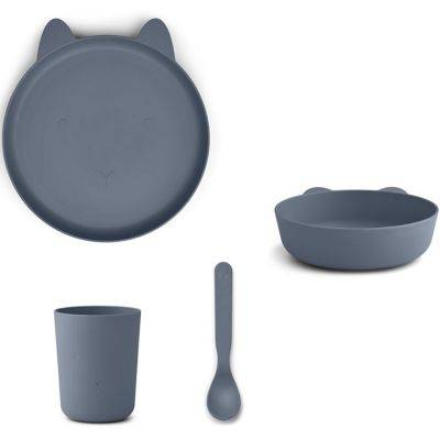 Coffret repas biodégradable Paul lapin bleu foncé (4 pièces)