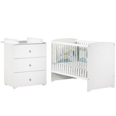 Pack duo lit bébé têtes panneaux blanc et commode à langer blancs New Basic