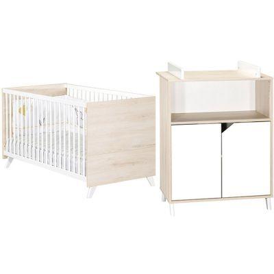Pack duo Scandi naturel lit bébé évolutif et commode à langer