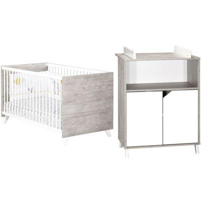 Pack duo Scandi gris lit bébé évolutif et commode à langer