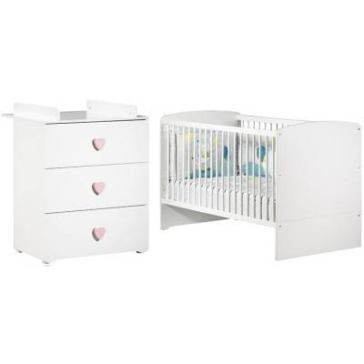 Pack duo lit bébé évolutif Little Big Bed blanc et commode à langer coeur rose New Basic
