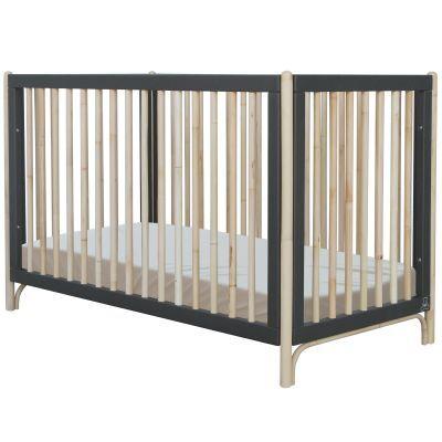 Pack duo lit bébé évolutif et côtés de lit Océane gris ardoise (60 x 120 cm)
