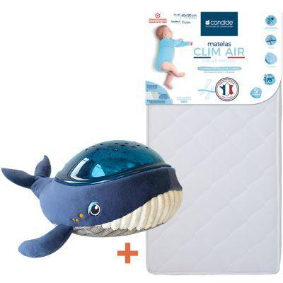 Pack matelas Clim Air (60 x 120 cm) + veilleuse projecteur baleine Candide x Pabobo