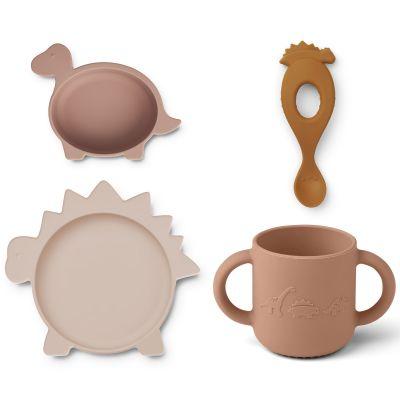 Coffret repas en silicone Vivi Dino rose et moutarde (4 pièces)