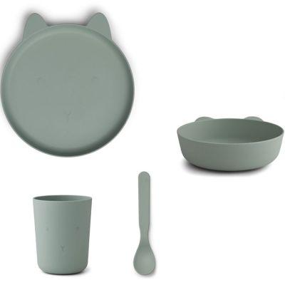 Coffret repas biodégradable Paul lapin vert d'eau (4 pièces)