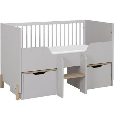 Lit bébé évolutif et caissons mobiles gris clair sablé Eliott (70 x 140 cm)
