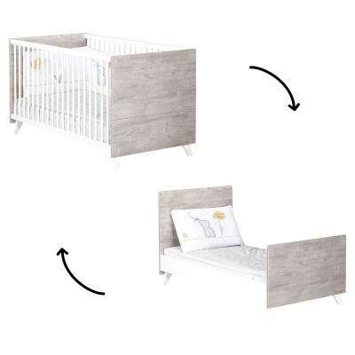 Lit bébé évolutif Little Big Bed Scandi gris (70 x 140 cm)