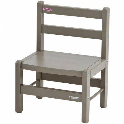 Chaise basse en bois massif laqué gris clair