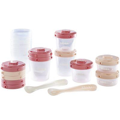 Pack 1er repas avec pots de conservation et cuillères rose (14 pièces)