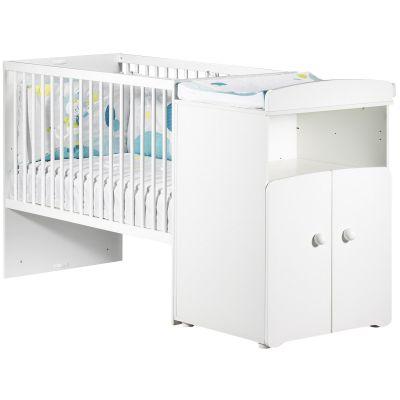 Lit bébé combiné évolutif New Basic Boutons boule blancs (60 x 120 cm)