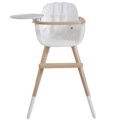 Chaise haute évolutive Ovo Plus one avec harnais blanc