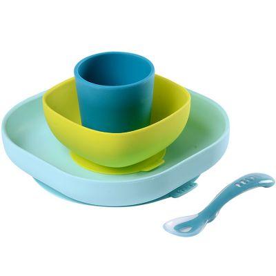 Coffret repas en silicone bleu (4 pièces)