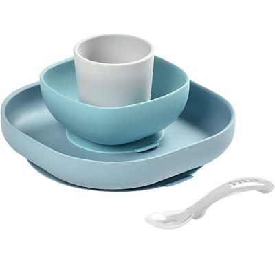 Coffret repas en silicone bleu jungle (4 pièces)