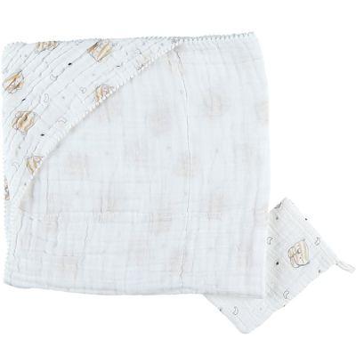 Cape de bain + gant en mousseline de coton tigre Milo (75 x 75 cm)