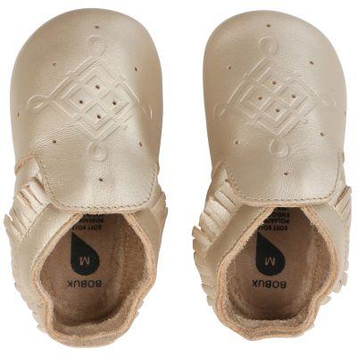 Chaussons bébé en cuir Soft soles doré (3-9 mois)
