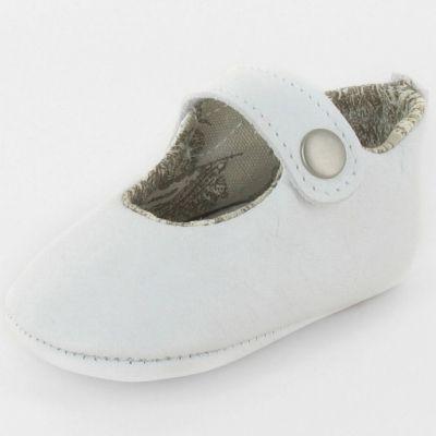 Chaussons baptême bébé prestige ballerine Marquise cuir blanc (3-6 mois)