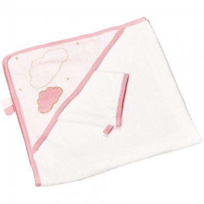 Cape de bain + gant Lily poudrée (75 x 75 cm)