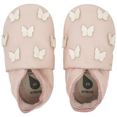 Chaussons bébé en cuir Soft soles Papillon rose (9-15 mois)